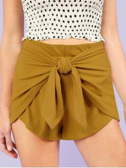 Casual Plain Regular Elastic Waist High Waist Yellow Ribbed Knit Tie Waist Shorts