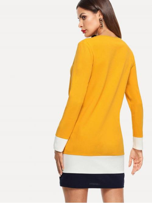 Affordable Mustard Yellow Colorblock Draped Round Neck Dress