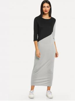 Multicolor Colorblock Contrast Mesh Round Neck Cut and Sew Dress Shopping