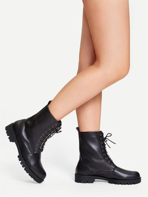 Tweed Black Combat Boots Ruffle Hem Studded Detail Lace-up Boots Discount