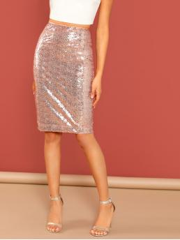 Sale Baby Pink High Waist Split Pencil Back Zip Sequined Skirt
