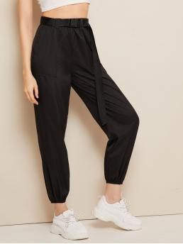 Sporty Plain Tapered/Carrot Regular Elastic Waist High Waist Black Cropped Length Buckle Belted Pocket Patch Crop Wind Pants with Belt