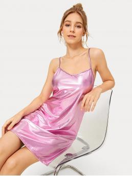 Glamorous Cami Plain Straight Spaghetti Strap Sleeveless High Waist Pink Short Length PU Leather Cami Dress