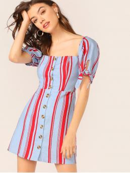 Boho A Line Striped Flared Regular Fit Square Neck Short Sleeve High Waist Multicolor Short Length Button Front Striped Smocked Puff Sleeve Dress with Lining