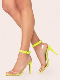 Glamorous Peep Toe Ankle Strap Neon and Yellow and Bright High Heel Stiletto Vinyl Band Neon Buckled Ankle Strap Stiletto Heels