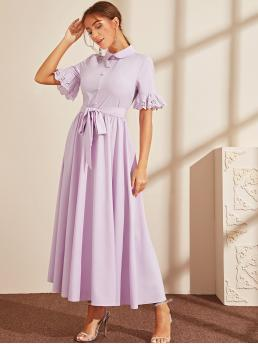 Elegant Shirt Plain Flared Regular Fit Peter Pan Collar Short Sleeve Flounce Sleeve High Waist Purple and Pastel Maxi Length Button Front Embroidered Eyelet Cuff Self Belted Dress with Belt