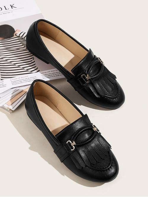 Comfort Round Toe Plain Black Fringe Decor Slip On Flat