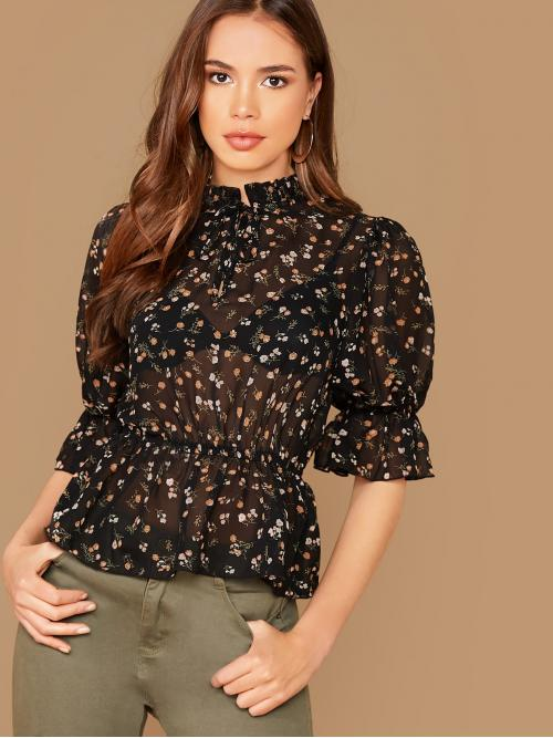 Sexy Ditsy Floral Peplum Regular Fit Stand Collar Half Sleeve Flounce Sleeve Pullovers Black Regular Length Ruffle Trim Ditsy Floral Sheer Peplum Top Without Bra
