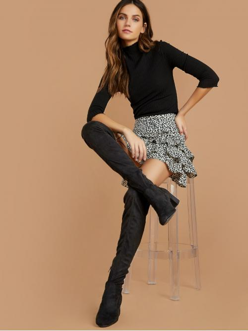 Business Casual Sock Boots Almond Toe Plain Side zipper Black Mid Heel Chunky Low Block Heel Over The Knee Boots