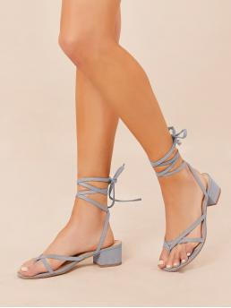 Affordable Dusty Blue Thong Sandals Lace up Mid Heel Ankle Wrap Low Block Heel Sandals