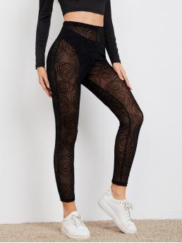 Womens Black Sheer Regular Graphic High Waist Leggings Without Panty