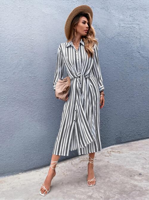 Ladies White Striped Button Front Collar Button up Shirt Dress
