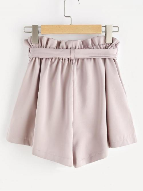 Cheap Dusty Pink High Waist Belted Track Shorts Paperbag Waist Self Tie Shorts