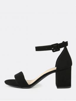Business Casual Open Toe Plain Ankle Strap Black Mid Heel Chunky Nubuck Ankle Strap Block Heel Sandals