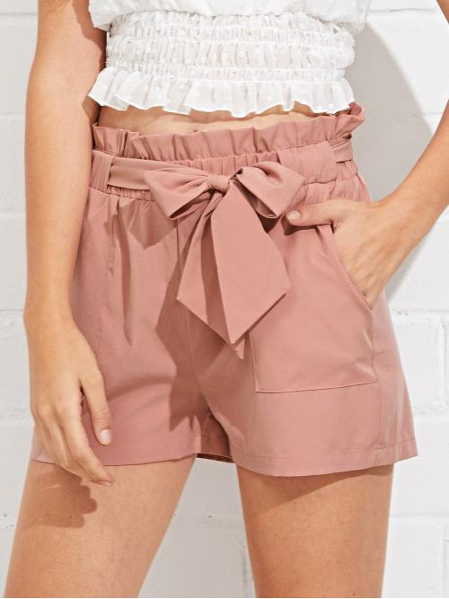 Ladies Pink Natural Waist Pocket Straight Leg Self Ruffle Waist Shorts