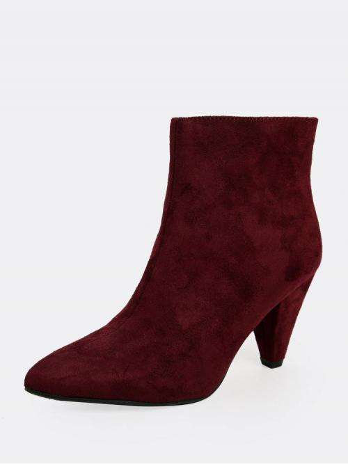 Fashion Corduroy Burgundy Stretch Boots Buckle Cone Heel Pointy Toe Back Zip