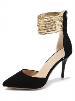 Business Casual Point Toe Ankle cuff Black High Heel Stiletto Pointed Toe Ankle Cuff Heels