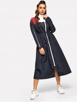 Sporty Shift Stand Collar Long Sleeve Natural Multicolor Long Length Colorblock Drawstring Waist Zip Up Windbreaker Dress