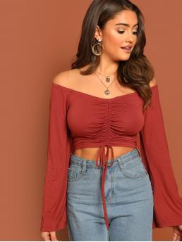 Sexy Plain Slim Fit Off the Shoulder Long Sleeve Pullovers Red Crop Length Off The Shoulder Shirred Front Jersey Crop Top