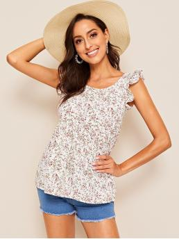 Boho Ditsy Floral Top Regular Fit Round Neck Sleeveless Pullovers White Regular Length Ditsy Floral Ruffle Armhole Tie Back Blouse