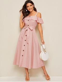 Boho Shirt Plain Flared Regular Fit Straps Short Sleeve Butterfly Sleeve Natural Pink and Pastel Long Length Flounce Foldover Button Front Self Belted Dress with Belt