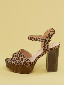 Glamorous Peep Toe Leopard Ankle strap Multicolor Chunky Cheetah Ankle Strap Platform Chunky Heel Sandals