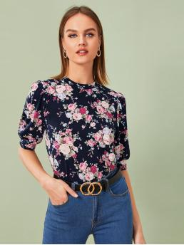 Casual Floral Regular Fit Stand Collar Short Sleeve Pullovers Multicolor Regular Length Keyhole Back Puff Sleeve Floral Print Top