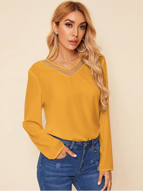Casual Plain Top Regular Fit V neck Long Sleeve Regular Sleeve Pullovers Yellow and Bright Regular Length Solid Mesh Insert Top