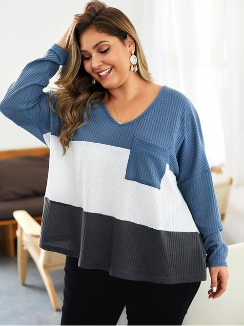 Casual Colorblock Regular Fit V neck Long Sleeve Regular Sleeve Multicolor Regular Length Plus Cut And Sew Tee