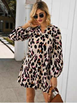 Casual Tunic Leopard Regular Fit Notched Long Sleeve Bishop Sleeve Natural Multicolor Short Length Notched Collar Leopard Print Dress