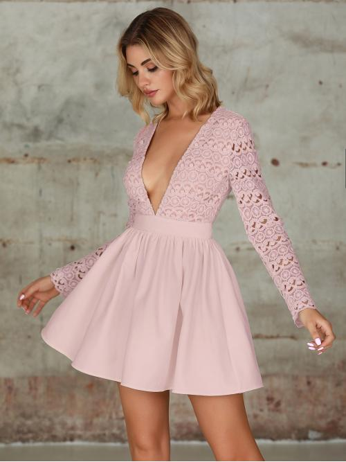 Sexy A Line Plain Flared Regular Fit Deep V Neck Long Sleeve Regular Sleeve High Waist Pink and Pastel Short Length Double Crazy Plunging Guipure Lace Bodice Skater Dress