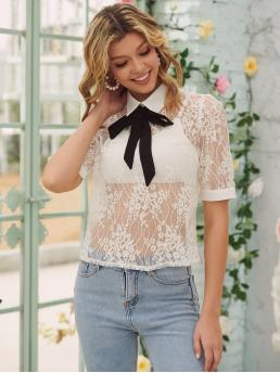Short Sleeve Top Bow Front Lace Sheer Blouse Clearance