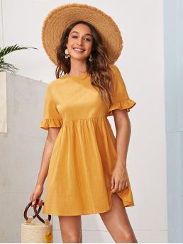 Mustard Yellow Plain Button Round Neck Bell Sleeve Solid Dress Clearance