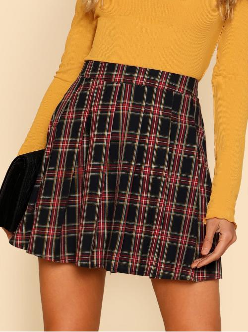 Grey High Waist Lace up Flared Box Pleated Checked Sale