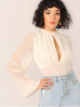 Sexy Plain Top Regular Fit High Neck Long Sleeve Flounce Sleeve Pullovers White Regular Length Keyhole Detail Puff Sleeve Open Tie Back Blouse with Lining