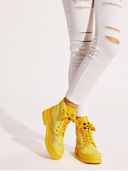 Comfort Combat Boots Round Toe Yellow Lace-up Front High Top Mesh Sneakers
