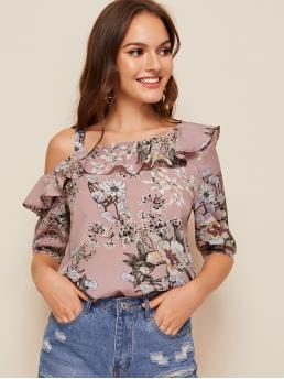 Boho Floral Top Regular Fit Asymmetrical Neck Half Sleeve Puff Sleeve Pullovers Pink and Pastel Regular Length Floral Print Asymmetrical Neck Ruffle Foldover Top