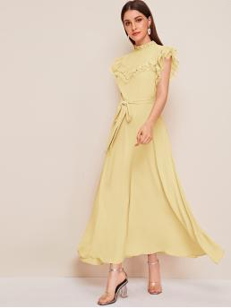 Elegant A Line Plain Flared Regular Fit Stand Collar Cap Sleeve Butterfly Sleeve High Waist Yellow and Pastel Long Length Ruffle Mesh Trim Self Belted Dress with Belt