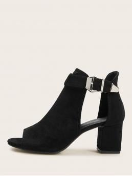 Business Casual Other Plain No zipper Black Mid Heel Chunky Peep Toe Buckle Strap Chunky Boots