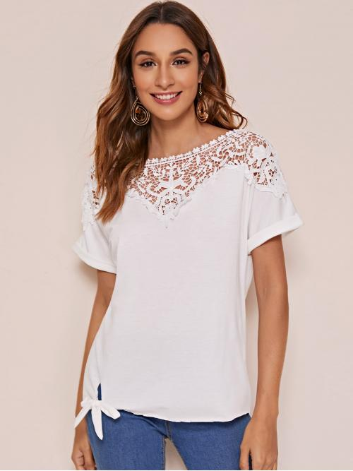 Casual Plain Regular Fit Boat Neck Short Sleeve Regular Sleeve Pullovers White Regular Length Contrast Lace Knot Hem Tee