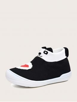Cheap Toddler Girls Knit Cartoon Graphic Slip on Sneakers