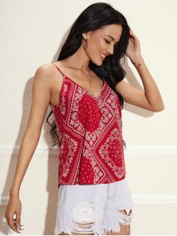 Cami Polyester Scarf Print Red and White Double Paisley Top on Sale