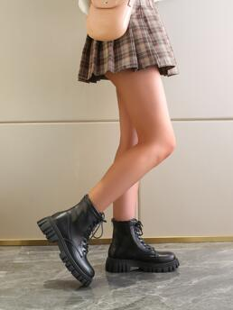 Black Pu Leather Tpr Pu Leather Lace up Front Platform Combat Boots Trending now