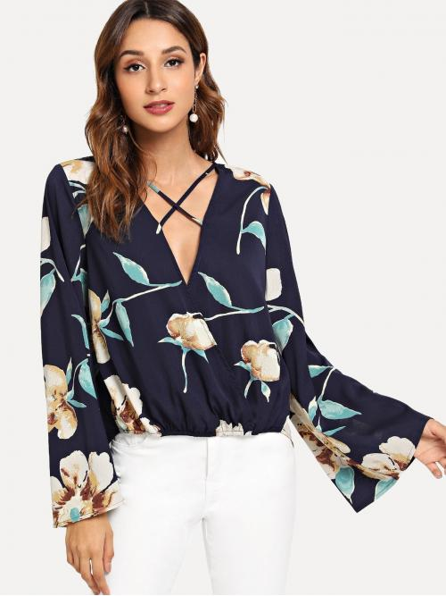Long Sleeve Top Criss Cross Polyester Cross Criss Front Flower Print Wrap Top Affordable