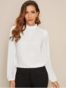 Elegant Plain Top Regular Fit Stand Collar Long Sleeve Pullovers White Regular Length Frilled Neck Bishop Sleeve Top