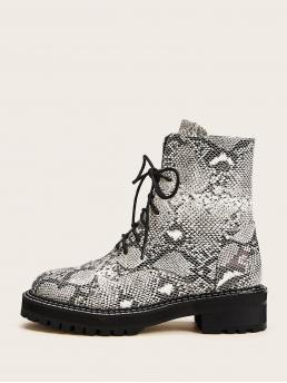 Comfort Combat Boots Almond Toe Snakeskin Print No zipper Multicolor Lace-up Front Snakeskin Ankle Boots