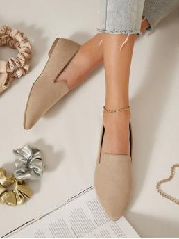 Pretty Mocha Brown Ballet Point Toe Suede Faux Pointed Toe Slip-on Flats