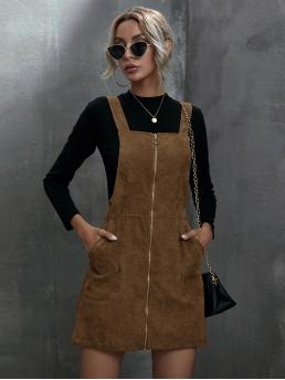 Coffee Brown Plain Zipper Straps O-ring Zip up Overall Dress Fashion