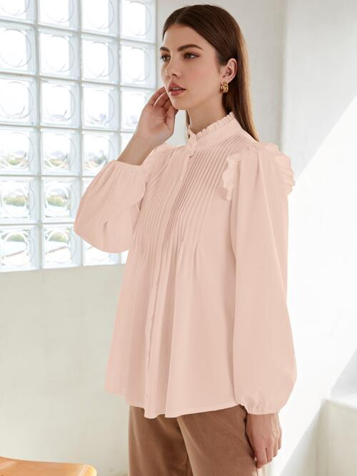 Long Sleeve Shirt Pleated Polyester Neck Button up Blouse Pretty