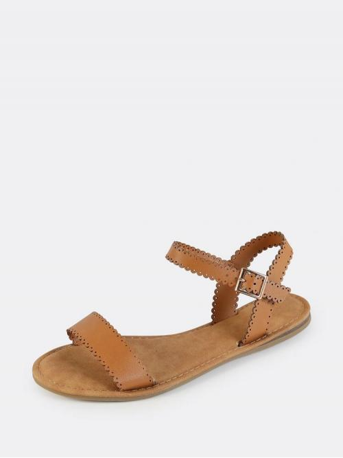Brown Strappy Sandals Scallop Open Toe Scalloped One Band Sandals Tan Clearance